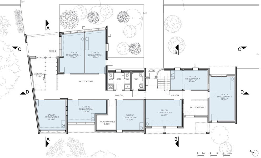 État projeté du plan du rez-de-chaussée © J.-B. LISSALDE Architectes D.P.L.G