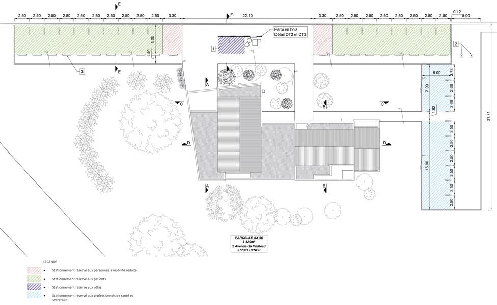 État projeté du plan de stationnement © J.-B. LISSALDE Architectes D.P.L.G